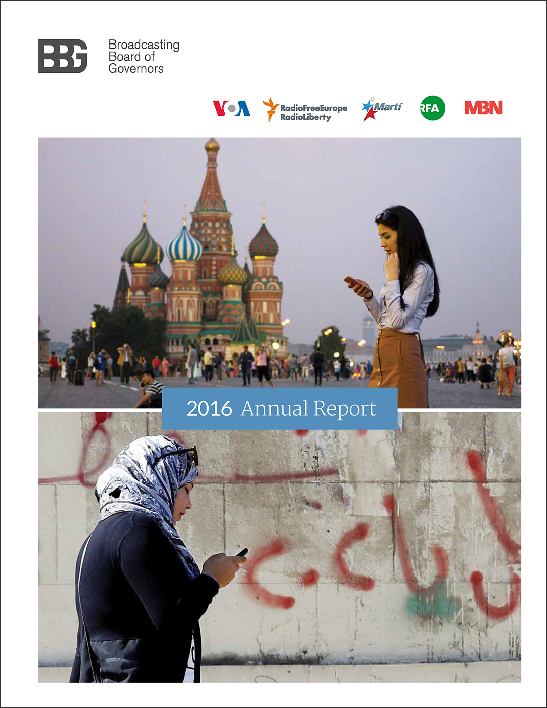 cover of a publication shows the logos of the BBG and 5 networks (VOA, RFE/Rl, OCB, RFA, MBN) above 2 photos of women looking at phone screens.