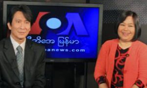 VOA Burmese Service Chief Than Lwin Htun and co-anchor Nyo Nyo Lwin.