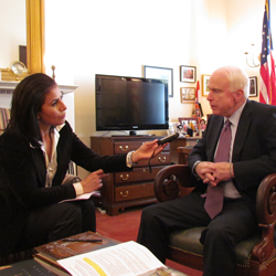 Sen. John McCain is interviewed by Radio Sawa's Lamia Rezgui.