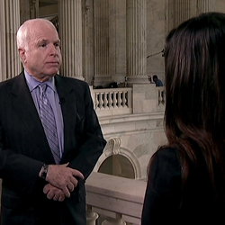 Sen. John McCain is interviewed by Alhurra TV's Rana Abtar