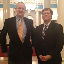 VOA Moscow Correspondent James Brooke, left, and U.S. Ambassador to Russia Michael McFaul