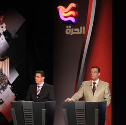 Alhurra's Tarek El Shamy and Al Hayah TV 2's Mahmoud Mosalam