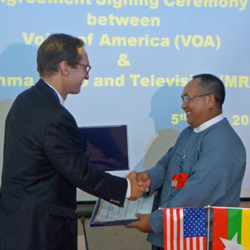 VOA Director David Ensor, left, with Thein Aung, Director General of Myanmar State Radio and Television