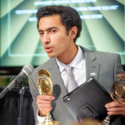 Radio Sawa broadcaster Mohamed Moawad  accepts awards at the New York Festivals