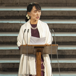 Aung San Suu Kyi speaking in London