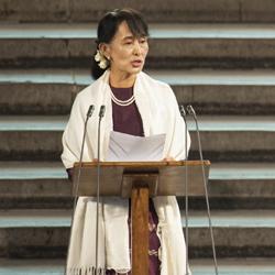 Aung San Suu Kyi speaking in London