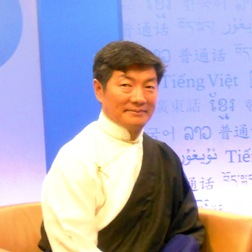 Lobsang Sangay on set at RFA
