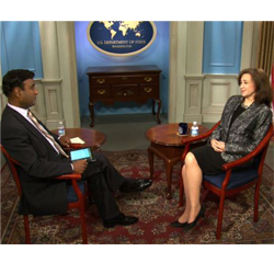 Under Secretary of State Tara Sonenshine is interviewed on VOA's Urdu language program Café DC