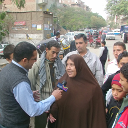 Alhurra journalist AbdelHamid Sayed conducts an interview.