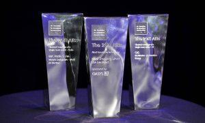 three clear AIB trophies
