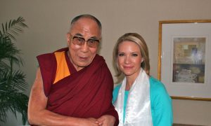 Dalai Lama with BBG Member Dana Perino and Susan McCue.