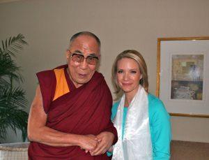 Dalai Lama with BBG Member Dana Perino and Susan McCue.