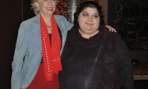 Leslie Stahl, left, with Khadija Ismayilova