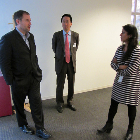 Todd Park, center, meets with BBG's Office of Digital & Design Innovation and Co-Directors of Innovation Rob Bole and Raina Kumra.