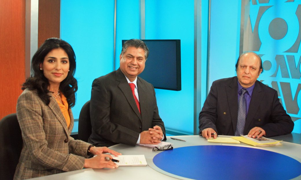 VOA's Ayesha Tanzeem, Murtaza Solangi, Director General of the Pakistan Broadcasting Corporation, and policy analyst Mowahid Hussain Shah, on the set of the Urdu Service election special.