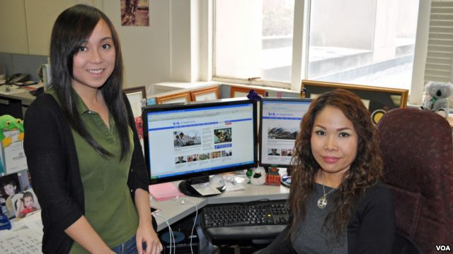 Multimedia production specialist Chau Tran (left) and Web Editor Stephanie Tu are among the talented staff at VOA's Vietnamese Service.