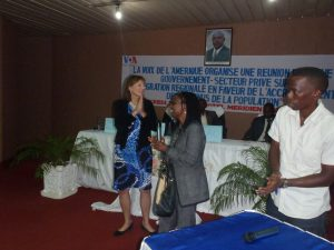With VOA's Jacqueline Segahungu at a Town Hall meeting on entrepreneurship in Bujumbura