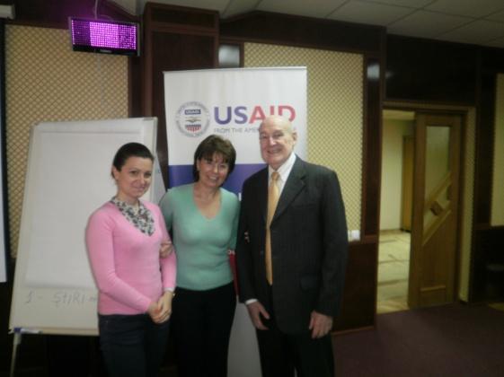 Inna Dubinsky, (BBG/OSD); Lauren Perlaza, PAO U.S. Embassy Chisinau; and USAID's Frederick Yeager, Chief of Party, ROLISP