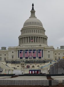 Workers make final preparation for the inauguration at the U.S. Capitol.