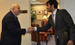 Sheikh Abdulrahman Al Thani, Director of Development of the Qatar Media Corporation meets IBB Director Dick Lobo