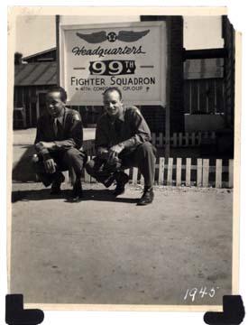 Joseph Cooper, H.A. Tibbs, USAAF 99th F.S. HQ, Godman, Field, KY. Spring 1945