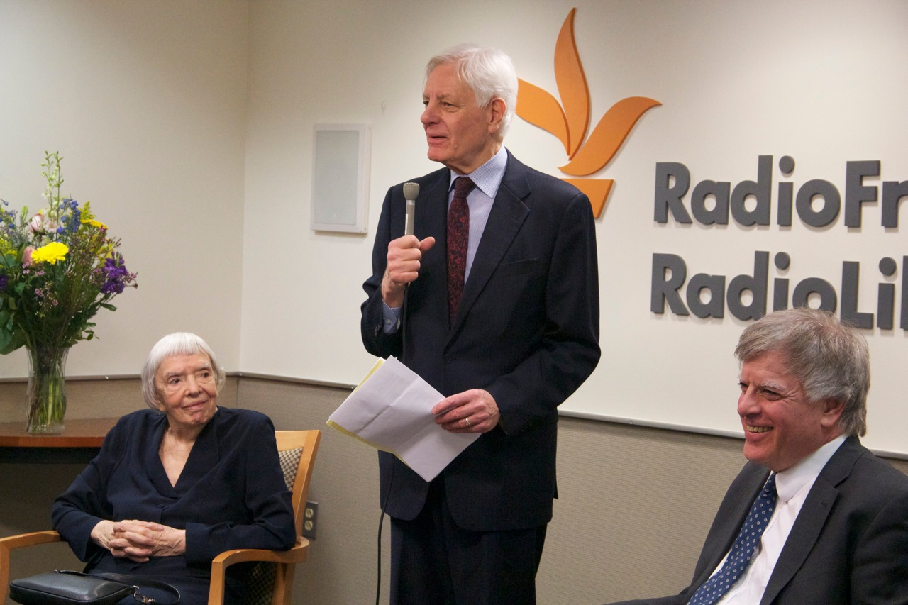 RFE/RL President Kevin Klose introduces Lyudmila Alekseyeva and David Satter at the Dialogue on Liberty to mark the 60th anniversary of the first Radio Liberty broadcast to Russia
