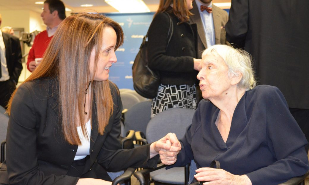 BBG Governor Susan McCue speaks with human rights activist Lyudmila Alekseyeva