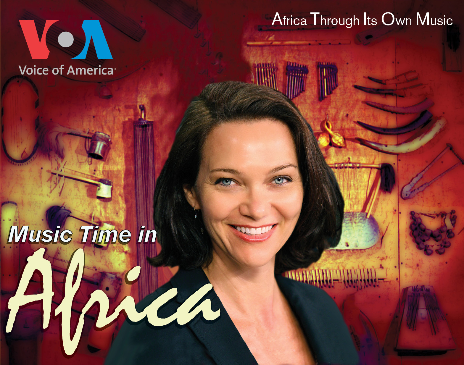 promotional poster for Music Time in Africa, with the host's smiling face