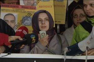 Wife of missing journalist leads protest outside the Syrian consultate in Turkey calling for information on his wereabouts.