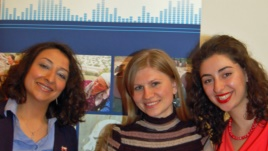 Vaclav Havel Journalism Fellows Tahmina Taghiyeva, Irina Gotisan and Seda Stepanyan, at a 9 April panel discussion at the Czech Embassy in Washington, DC