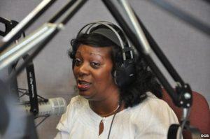 Berta Soler, on Radio Martí's daily live show, Con Voz Propia