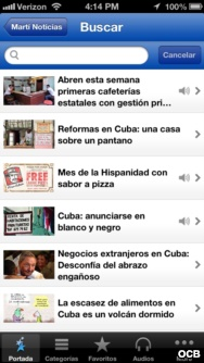 screenshot of Marti mobile app