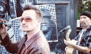 """Bono at an NYC event where he recorded a message for VOA's """"OnTen."""""""