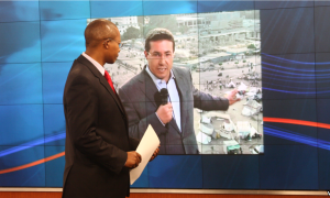Africa 54 host Vincent Makori goes live with Alhurra TV's Tarek El Shamy in Cairo. (photo by Patricia Li)