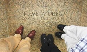 "Looking down at inscription of ""I Have a Dream"""