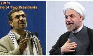 side by side photos of former Iranian president Ahmadinejad and current president Rohani