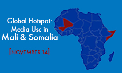 blue map of Farica with Mali and Somalia highlighted in red. Text of the event title