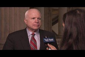 Senator McCain speaking to alhurra reporter