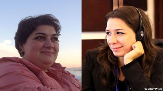 side by side photos of two female journalists