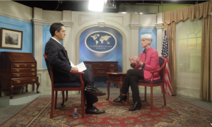 VOA's Siamak Dehghanpour interviewing Under Secretary of State for Political Affairs Wendy Sherman at the State Department.