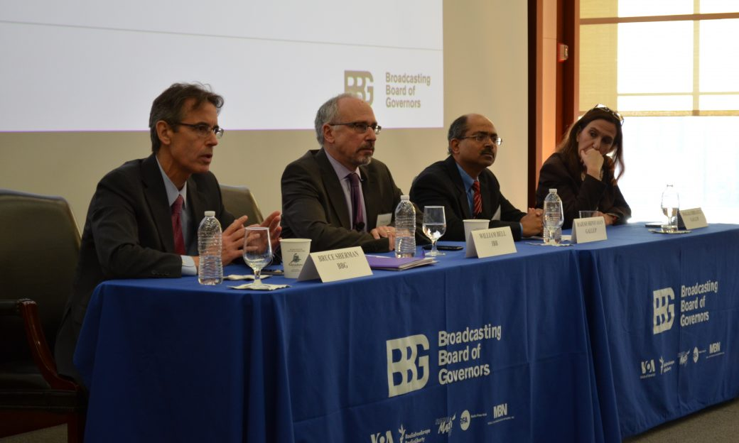 Bruce Sherman, Director, Office of Strategy and Development, BBG; William Bell, Research Director, International Broadcasting Bureau; Rajesh Srinivasan, Ph.D., Principal, Gallup; Magali Rheault, Regional Research Director – Francophone Africa, Gallup