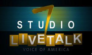 graphic logo, green background, text: Studio 7 Livetalk