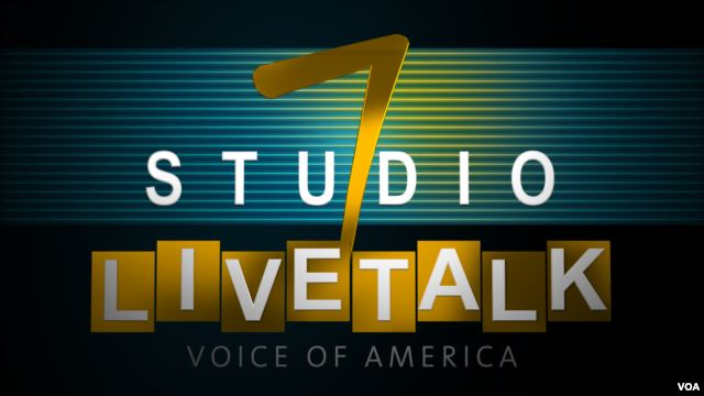 graphic logo, green background, text: Studio 7 Livetalk