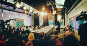 wide angle view of BBG meeting at Alhurra studios