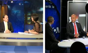 Split screen of two VOA shows in which the presidents of Haiti and Albania appeared