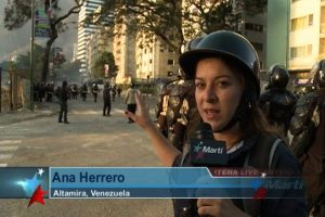 Reporter, wearing helmet, reporting from the street
