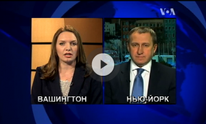 This screenshot from TV program shows a split screen with the female host on the left and the male guest on the right