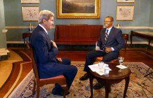Secretary of State John Kerry interviewed by VOA reporter Vincent Makori
