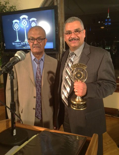 Mohamed Attia Saad, Supervisor Shift Editor, andMoemen Metwally, Radio Sawa Broadcaster (r) at the New York Festivals