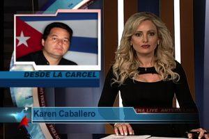 Screengrab of Karen Caballero introducing interview